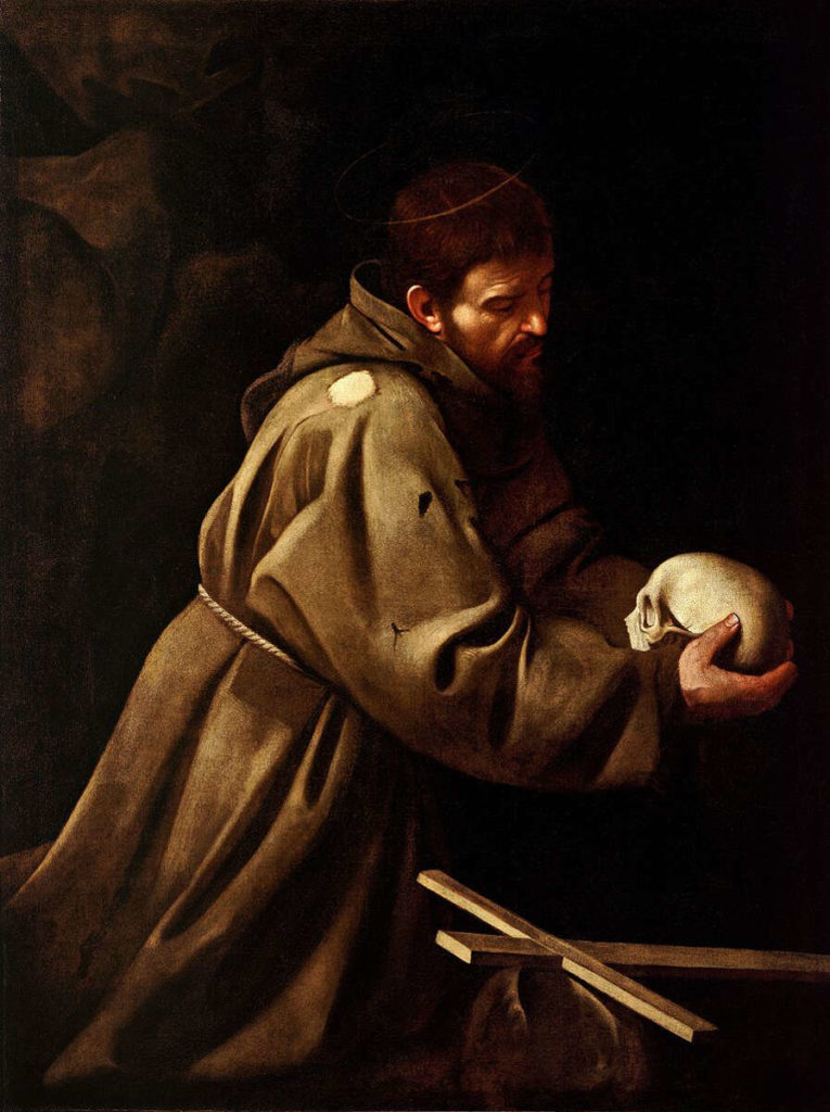 """Saint Francis in Prayer"" (1606) by Caravaggio"