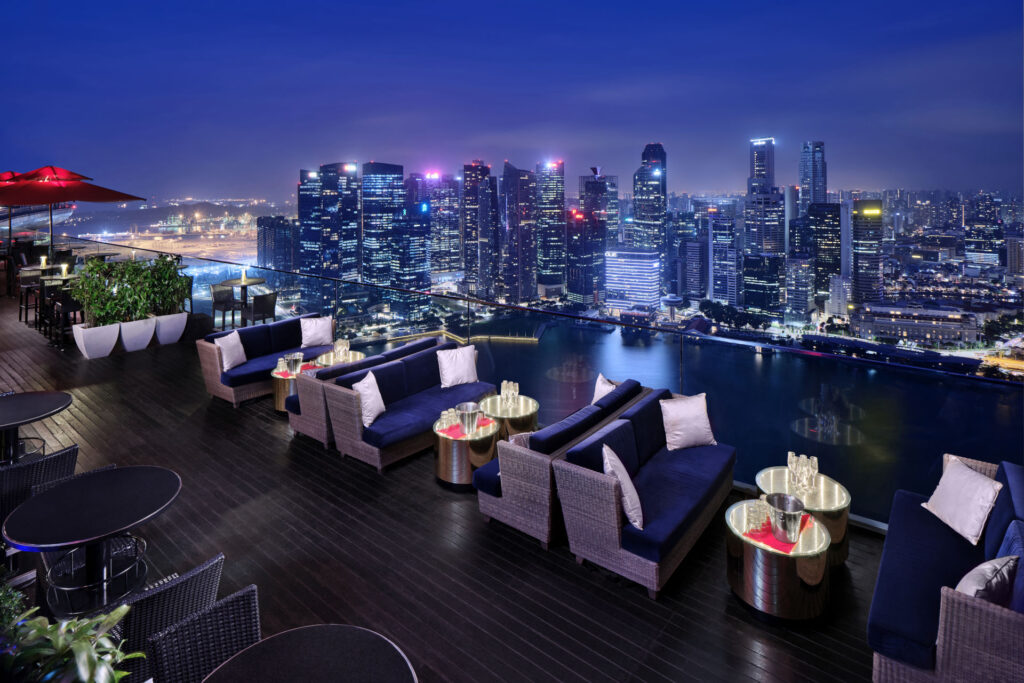 Ce La Vi Singapore Restaurant. The Stunning Panoramic View At Marina Bay Sand | Night Shot