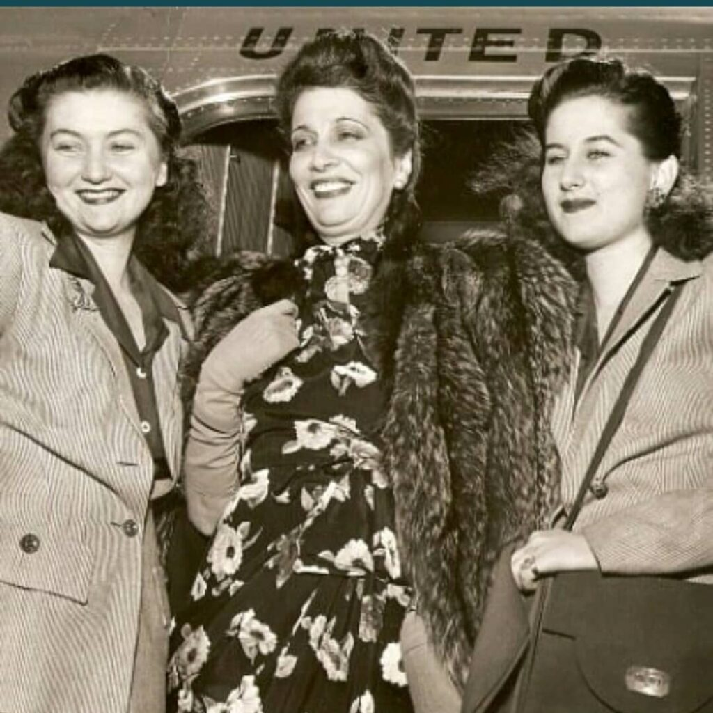 HM Queen Nazli of Egypt with daughters TRH princess Fathia and princess Fakia