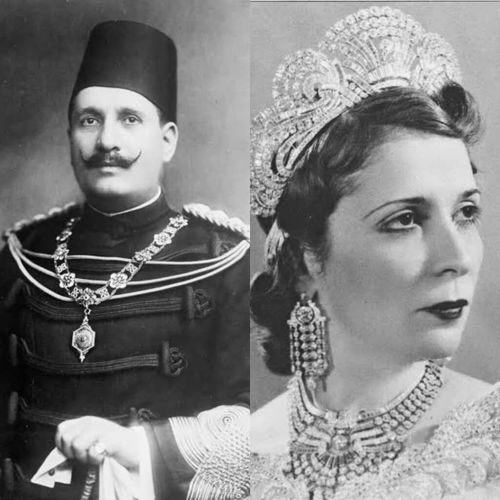 King Fuad i of Egypt and Sudan and his second wife Queen Nazli. He reigned from 1917 till his death in 1936.