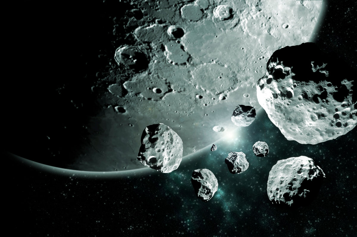Lunar Meteorites pieces from the moon Deep space image, science fiction fantasy ideal for wallpaper and print. Elements of this image furnished by NASA