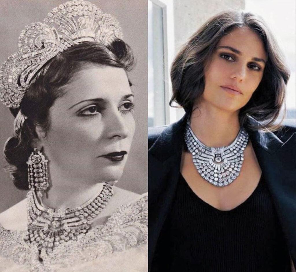 الفنانة أمينة الدمرداش ترتدي قلادة فان كليف أند آربلز التي كانت تملكها جدتها الكبرى ، الملكة نازلي ، ملكة مصر ، لعدد أكتوبر 2017 من فوغ العربية.